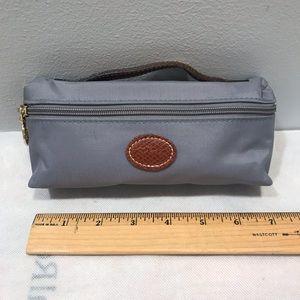 Longchamp Le Pliage cosmetic zipper case w leather
